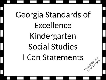 Georgia Standards of Excellence I Can Statements Kindergar