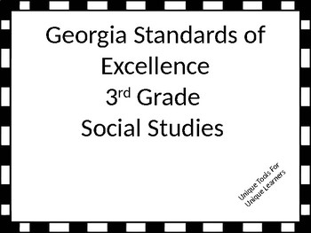 Georgia Standards of Excellence Posters for 3rd grade Soci