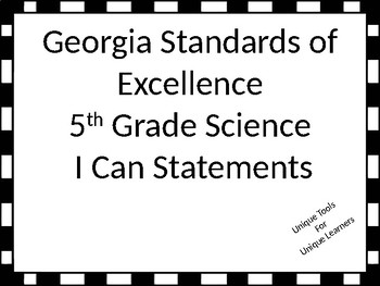 Georgia Standards of Excellence Posters for 5th grade Scie