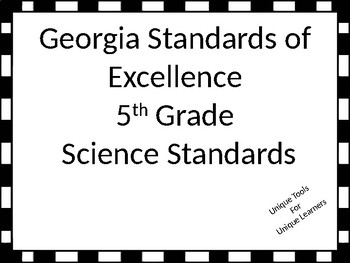 Georgia Standards of Excellence Science Standards for Fifth Grade