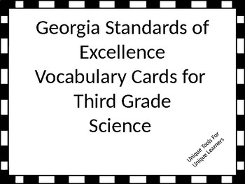 Georgia Standards of Excellence Science Vocabulary Cards f