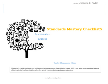 Georgia Standards of Excellence: Standards Mastery Checkli