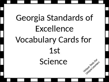 Georgia Standards of Excellence Vocabulary Cards for 1st g