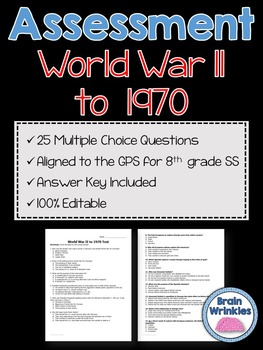 Georgia Studies: World War II to 1970 Assessment (Editable)
