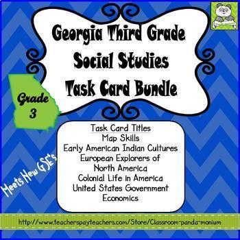 Georgia Third Grade Social Studies Task Card Bundle (Meets