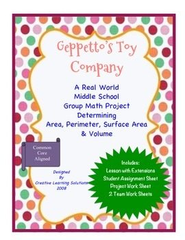 Geppetto's Toy Company:Cooperative Learning Project-Middle
