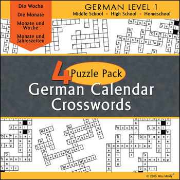 German Calendar Crossword Puzzle Pack - Months, Days of th