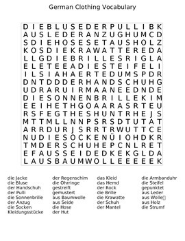 German Clothing Wordsearch