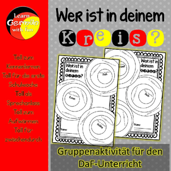 German Get To Know Activity- Wer ist in deinem Kreis? DaF-