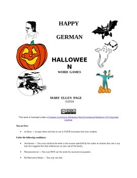 German Halloween Word Games Gr. 6-12