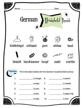 German Household Items Worksheet Packet