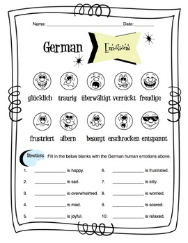 German Human Emotions Worksheet Packet