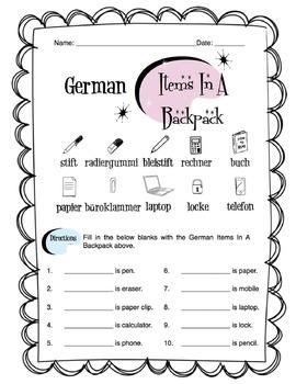 German Items In A Backpack Worksheet Packet