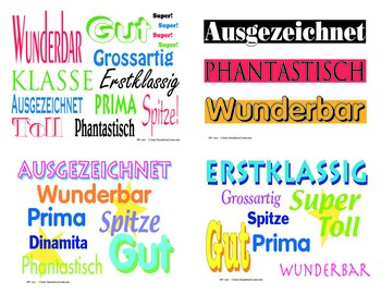 German Language Praise & Motivation Postcards