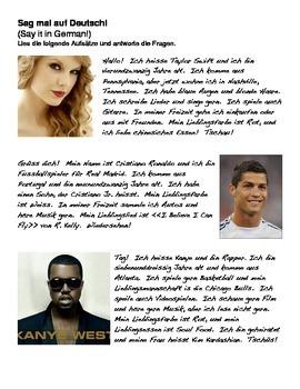 German Level 1 Reading Activity #2 (Taylor Swift, Cristian