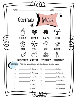 German Months Of The Year Worksheet Packet