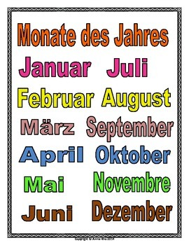 German Months of the Year Poster