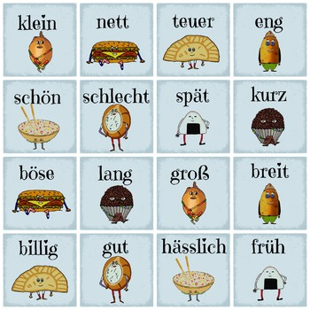 German Opposite Adjectives Memory - Learn the opposites -