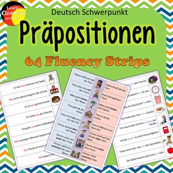 German Prepositions Fluency Strips- Deutsche Präpositionen