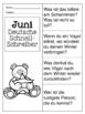 German Quick Writes- Deutsche Übungen zum schreiben üben- Juni