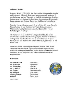 German Reading - Biography of Johannes Kepler