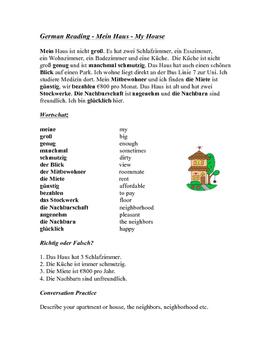 German Reading - Mein Haus - My House