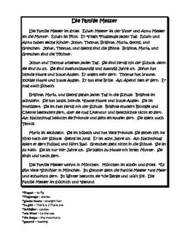 German Reading & Writing Assessment - Level 1