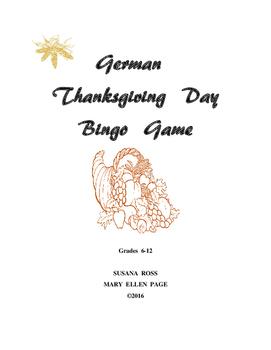 German Thanksgiving Bingo