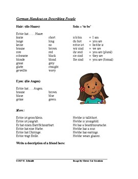 Describing People in German ~ FREEBIE!