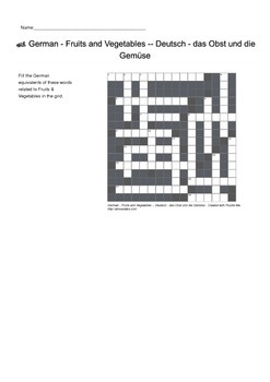 German Vocabulary - Fruits and Vegetables Crossword Puzzle