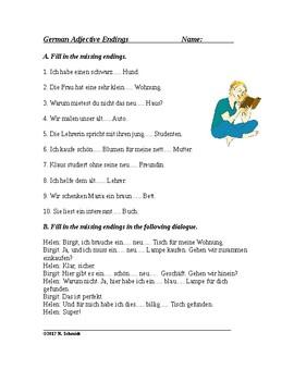 German Worksheet - Adjective Endings