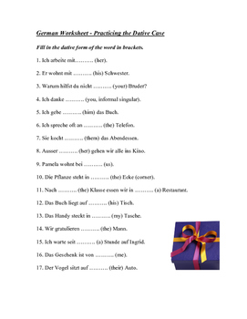 Dative Case German Worksheet