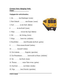 German Worksheet ~ Stem-changing Verbs