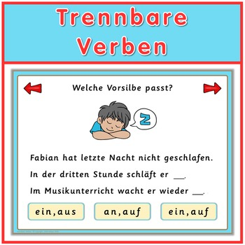 Free German Game  trennbare Verben