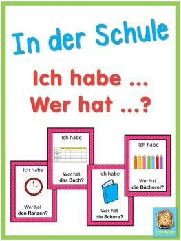 German school words  Ich habe ... Wer hat ...? game