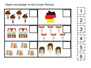 Germany themed Match the Number preschool printable.  Home
