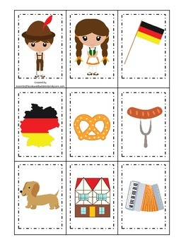 Germany themed Memory Matching preschool learning game.  Daycare.