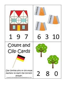 Germany themed Numbers Clip it Cards preschool math learni