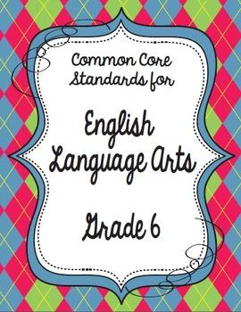 Get Organized!  6th Grade Common Core ELA Binder Organizer
