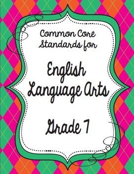 Get Organized!  7th Grade Common Core ELA Binder Organizer