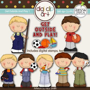 Get Outside And Play 1-  Digi Clip Art/Digital Stamps - CU