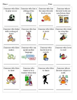Get To Know You - Classroom Bingo