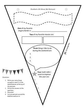 Get To Know You Pennant (created for my middle school math