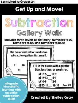 Get Up and Move! {A Subtraction Gallery Walk}