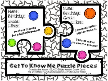 """""""Get to Know Me"""" Puzzle Pieces"""