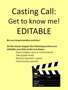 Get to know me! Casting call edition. EDITABLE