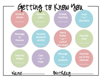 Get to know you activity for teachers or students