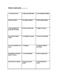 Get to know you activity in Spanish
