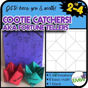 Get to know you and common core math Cootie Catchers aka F
