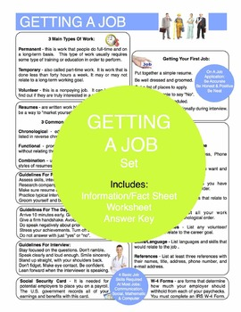 Getting A Job Content Sheet, Worksheet And Answer Key